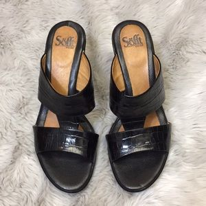 Sofft black slip on sandal heels. Size 9